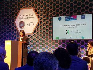 Laetitia Monthe au MWC18, représentant sa sœur Patricia Monthe au 4YFN de Barcelone . Photo: LeClub14